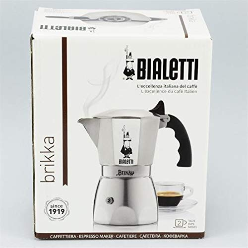 Bialetti 6188 Espressokocher 2 Tassen, Aluminium, silber