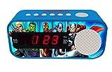 LEXIBOOK- Marvel, Vengadores, Avengers-Radio Despertador con Reloj Digital, Pantalla LCD, repetición Alarma, alimentación AC RL145AV, Color Azul (1)