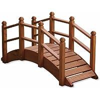 UK-Gardens Puente de madera de teca para adornar el jardín, estanques y canales