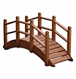 Wooden Garden Bridge Ornament Decorative Feature Teak Stained For Ponds Streams and Borders