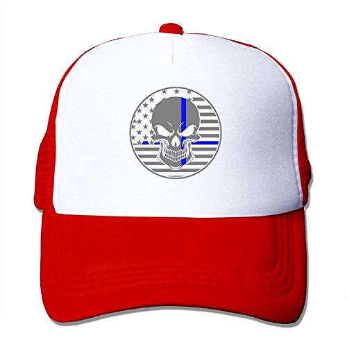 Qian Mu888 Thin Blue Line American Flag Police Skull Youth Mesh Baseball Cap Summer Adjustable Trucker Hat (Under Armour Punisher)