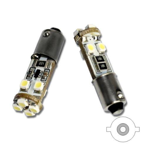 UNB9C8W - Standlicht, Kennzeichenbeleuchtung, Leseleuchte, Kofferraumbeleuchtung, Türbeleuchtung, Fussraumbeleuchtung, LED Lampe Weiss Can Bus T4W BA9S 12V Metallsockel mit 8 SMD (ohne Fehlermeldung)