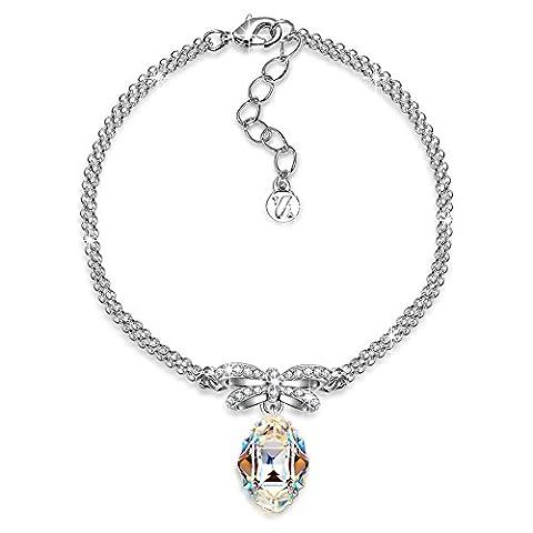 J.NINA Princesse de Monaco Aurore Boreale cristaux Swarovski Bracelet Femme Coeur Cadeau Anniversaire Noël Saint-Valentin Fête des Cadeau Fete des Meres Cadeau Maman Pour Mère Fille épouse Petite Amie