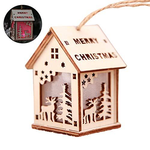 New Year Christmas LED luminoso cabine Pendant ornamenti natalizi da tavolo LED luminoso legno casa ciondolo albero di Natale Decorazioni per la casa decorazione per festa, A