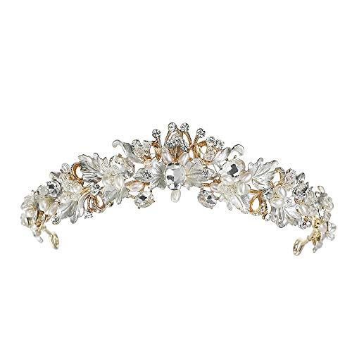 TWINKLEheadwear Stirnband Frau Crown Wrestling Braut Krone Blume Strass Perle Gold Hochzeit Krone, Gold