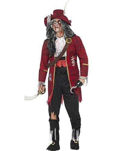Smiffys, Herren Deluxe Zombie Piraten Kapitän Kostüm, Jacke mit angebrachten Latex Rippen, Hose, Stiefel Überzieher, Oberteil, Hut, Haken und Gürtel, Größe: M, 46866