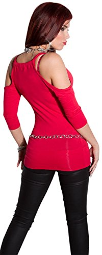 Instyle - T-shirt - Uni - Col ras du cou - Manches 3/4 - Femme Rouge