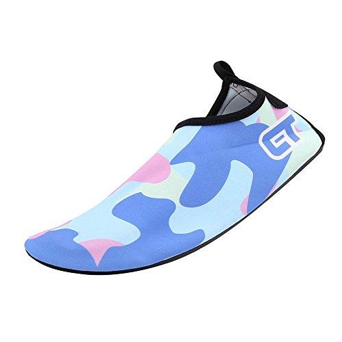 Unisex Aquaschuhe Strandschuhe, Weiche schnelltrockene rutschfeste Schwimmschuhe geeignet für Tauchen Schnorcheln Schwimmen, Yoga Schuhe für Damen & Herren, Erwachsene & Kinder Tarnfarbe-hellblau