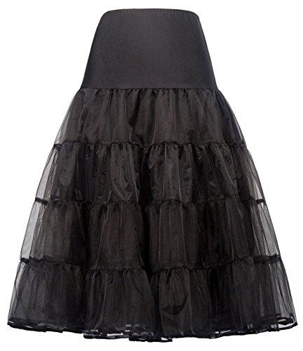 Swing Petticoat Damen Festliche Petticoat schwarz Unterrock Fashion Rock S CL638-1