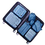Organisateur de Voyage Cube de Voyage Sacs de Rangement 8 Set Système de Cube Voyage Ensemble Complet de différents Sacs Set Voyage - DoGeek (8 pcs Bleu foncé)