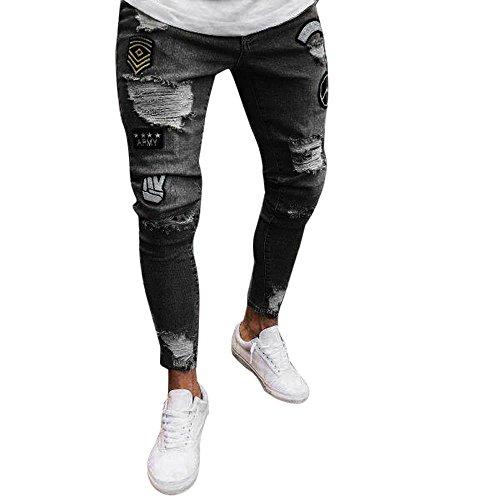 Jeans uomo strappato, rcool jeans skinny da uomo casuale denim pantaloni slim fit elasticizzati 4 colore s-3xl,