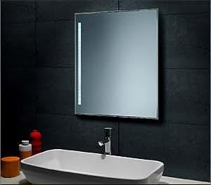 Miroir avec éclairage lED 60 x 40 cm avec cadre en aluminium