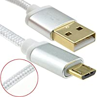 kenable BRAIDED Metal Ended GOLD USB 2.0 A To MICRO B Cable 3m SILVER