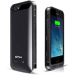 iFans iPhone 5s / 5 Coque Batterie, [Certifié Apple MFi] Chargeur Etui avec 2400mAh Batterie Intégrée pour iPhone SE / iPhone 5S / iPhone 5, 120% Extra Life - Noir