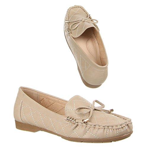 Damen Schuhe, 480-BL, MOKASSINS Beige