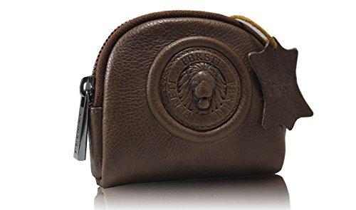 59a1e31c2a FERETI Porte monnaie Marron en cuir pour femme Lion 3D argent antique Unisex