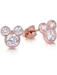 1e36581f5673 Disney – Pendientes chapados en oro rosa con cristales
