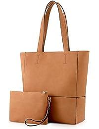 Plambag Large PU Leather Tote Women's Shoulder Bag With Removable Wrist Bag
