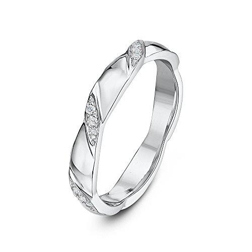 Theia 9ct White Gold 0.06ct Diamond Set 3mm Twist Wedding Ring - Size J
