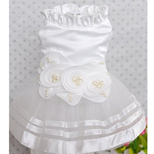 e Kleidung Welpen Luxus Haustier Kleid White Cat Dog Tutu Rock Prinzessin Hochzeitskleid,M (Hund In Person Kostüm)