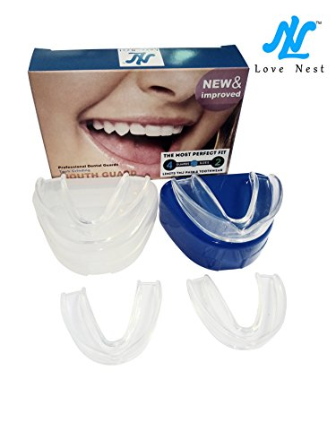 Love Nest Beißschiene Zahnschiene Aufbissschiene Zähneknirschen Stoppt Bruxismus, Kiefergelenkanalyse & Eliminiert Zähne Clenching. 4 Stück Wachen in 2 Größen für Custom