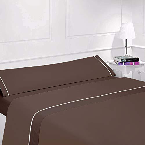 (NG) Parure de lit d'été unie en microfibre, toucher doux, très légère avec 1 taie d'oreiller, 1 drap-housse élastique et 1 drap de dessus, pour lit jusqu'à 200 cm de long 90 x 200 cm Beige / chocolat