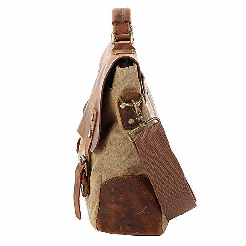 Othilar Herren Damen Canvas Leder Tasche Handtasche Umhängetasche Aktentasche für Alltag Reise (Armeegrün) Khaki