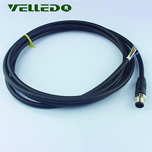 Velledq M12 Sensor connecteur 8 Broches Male Straight Adaptateur avec câble de 2 m/200,7 cm PVC Industriel Field-wireable