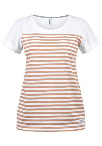 Rose Damen Henley (DESIRES Mimi Damen Longsleeve Langarmshirt Streifenshirt Shirt Mit Rundhalsausschnitt Aus 100% Baumwolle, Größe:XS, Farbe:Mahog. Rose (4203))