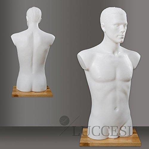 LUCCESI - Schaufensterpuppe mit Kopf Damen/Herren Größe M, L (Large) Schneiderpuppe Mannequin Figur (Schaufensterpuppe Torso Mit Armen Männlichen)