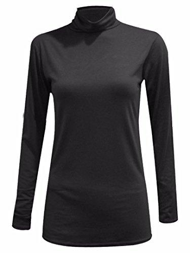 Elum ® Femmes Longue Manches Polo Cou Cavalier Haut Noir
