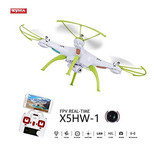 OCDAY Syma X5HW-1 Drone con Cámara HD WiFi FPV Versión Actualizada de X5C 2.4GHz 4CH 6-Axis Gyro con Función de Estabilización de Altitud, Modo sin Cabeza y Rotación de 360° (Blanco)