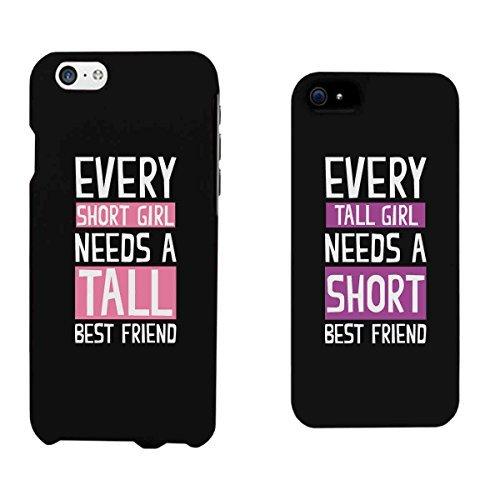365impresión cada corto chica y Tall Chica Negro a juego Mejores amigos teléfono casos regalo de Navidad para Bff, plástico, iPhone 6 / iPhone 5