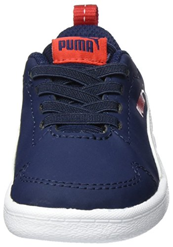 Puma Courtflex Inf, Sneakers Basses Mixte Enfant Bleu (Peacoat-puma White 01)