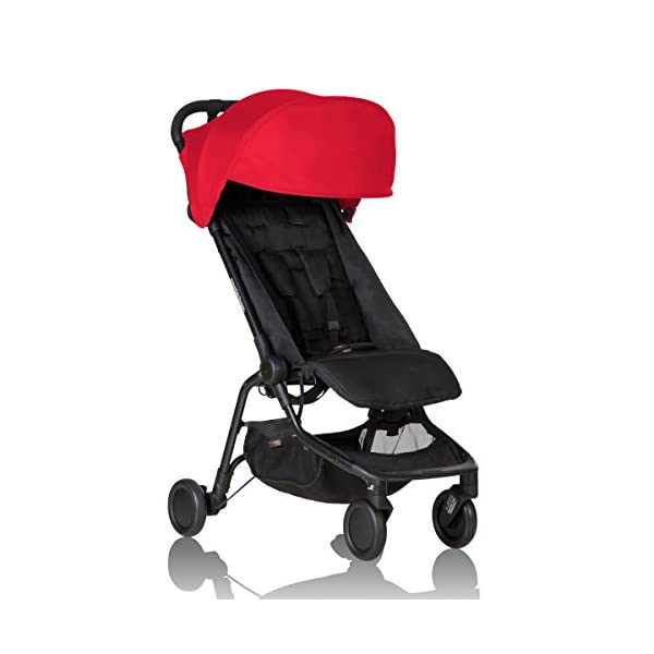 """Mountain Buggy Nano V2-5, Ruby Red Mountain Buggy Infant car seat ready, no need to purchase additional adapters and now has a soft shell cocoon carrycot available (sold separately) for new-borns New, narrower compact size at just 12"""" x 22"""" x 20"""" (folded) with 44 lb. weight capacity and suitable for children up to 4 years Easy two-step, compact fold 1"""