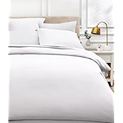AmazonBasics - Bettwäsche-Set, Fadendichte 400, Baumwollsatin, 155 x 200 cm und zwei Kissenbezügen, 80x80cm, Weiß