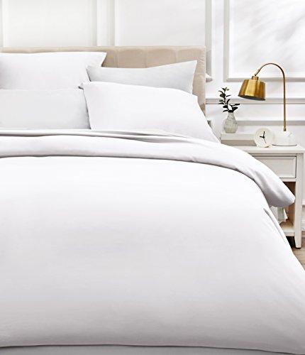 AmazonBasics - Bettwäsche-Set, Fadendichte 400, Baumwollsatin, 155 x 220 cm und zwei Kissenbezügen, 80x80cm, Weiß