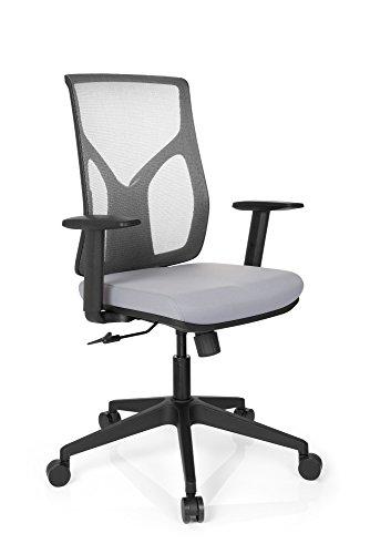 HJH Office 731120Sedia di Ufficio Turan Tessuto Rete Grigio, ergonomico, con Supporto Lombare, Tessuto A Rete Traspirante, braccioli con Regolazione di Altezza, Stabile, Motivo Moderno, Sedia Lavoro