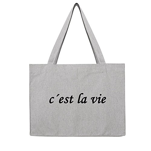 c´est la vie Bag Frauen Shopper grau Jute Beutel Handtasche Strand Sommer faltbar groß bedruckt mit Motiv (3-U762-Grau)