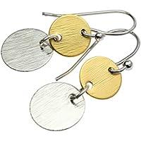 Ohrringe Ohrhänger bicolor versilbert vergoldet Plättchen Scheiben Anhänger matt Silber schraffiert minimalistisch grafisch rund Plättchenschmuck Farbe: Silber Gold