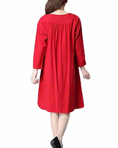 ... Auxo Damen Vintage Herbst Unregelmäßige Wasserball Boho Lose Baggy Maxi  Kleid Rot# ...