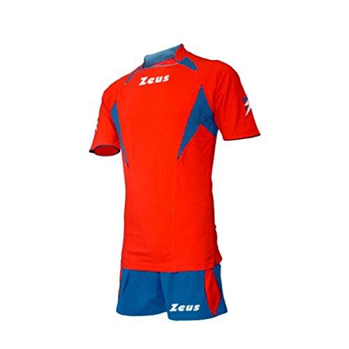 Zeus Herren Volleyball Fußball Set Trikot Hose Shirt Shorts Indoor Handball Training Ausbildung KIT TONY ROT ROYAL (L)