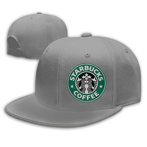 Einstellbare Männer Frauen Starbucks Logo Print Baseball Cap Snap - Back Flache Krempe Golf Hüte Hip Hop Snapback Hut Grau