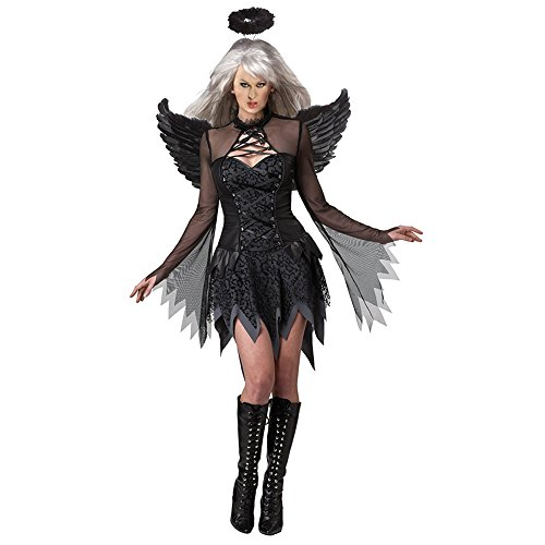 iShine Costume Deluxe Halloween Abito Festa Cosplay Dress Adulto Fallen Angel Traje Com Asas de Anjo