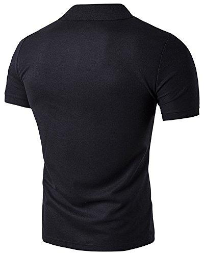 Herren Blitz-Printing Poloshirt Kurzarm T-Shirt Polohemd Schwarz