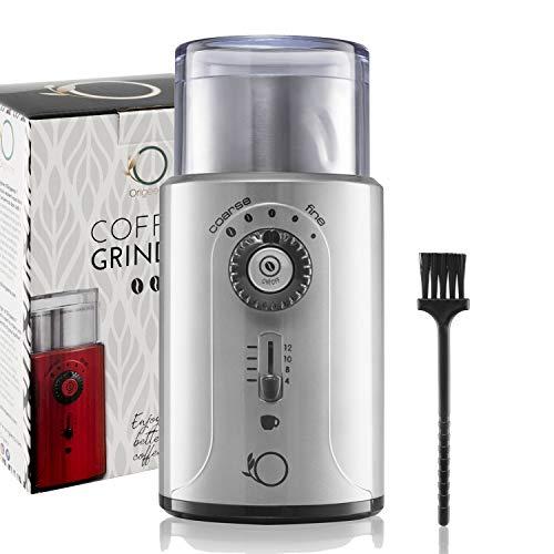 ⭐ Elektrische Kaffeemühle Einstellbar 200W ● Schrotmühle, Gewürzmühle, Nussmühle ● Abnehmbare Edelstahlbehälter ● CE-konform