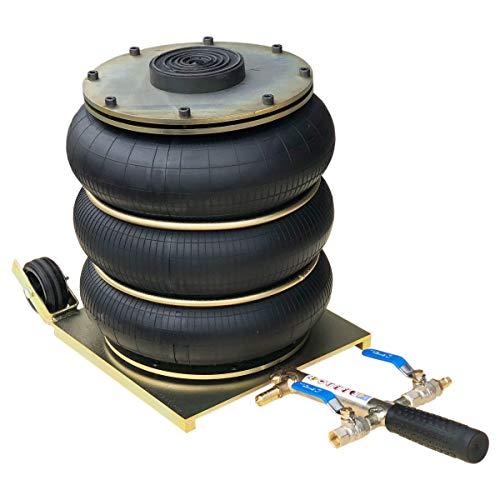 Cric pneumatique - 4,5T - Poignée courte - Pression d'air - Bague de pression - Fabrication et certification EU - Amortisseur télescopique - Rondelle en caoutchouc
