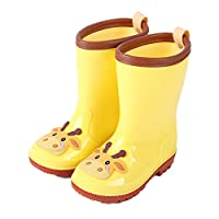 Kids Waterproof Boots Childrens Boys Girls Lovly Cartoon Animals Pattern Wellies Rain Boots