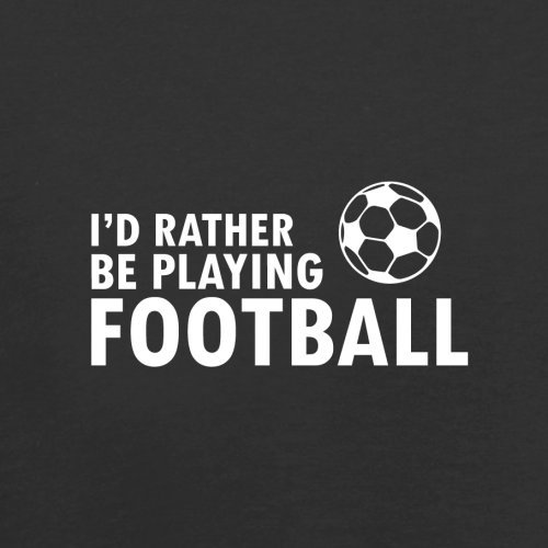 Dressdown I d Rather be playing Football - Childrens Kids T-Shirt - Black - XL  12-14 Years