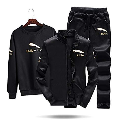 Herren-Tracksuit, Fall Casual Jogging Activewear Slim Fit 3 Piece Set Long Sleatsuit Full Zip Gym Running Sportswear,Black,XL Black Hooded Jogging-set